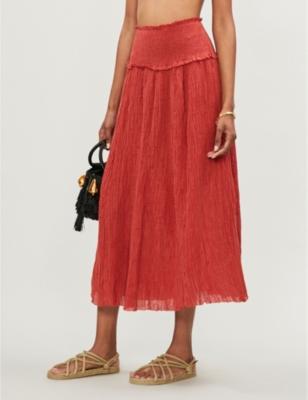 Via Veneto shirred cheesecloth skirt