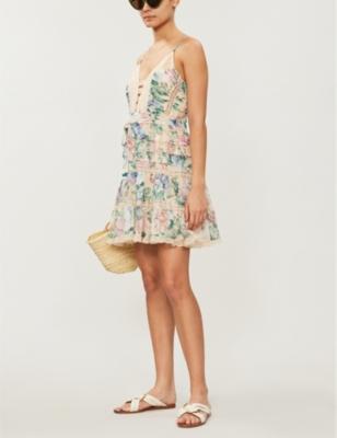 Verity floral-print V-neck cotton silk-blend dress