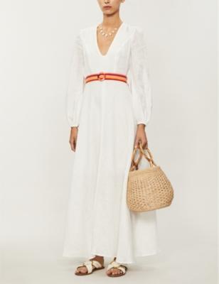 Goldie V-neck linen maxi dress