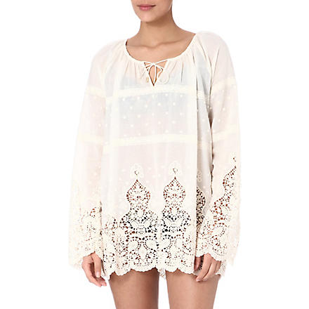 ZIMMERMANN Keeper broidery top (Cream