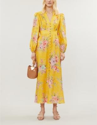 Zinnia floral-print linen maxi dress