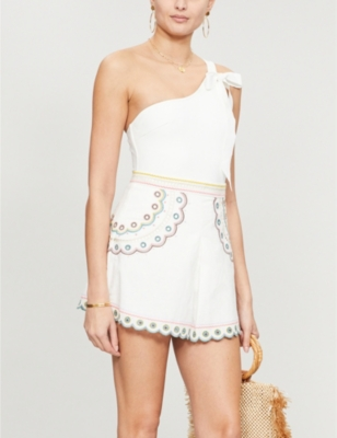 Peggy embroidered linen and cotton-blend shorts