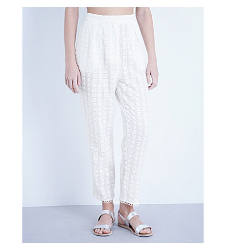 ZIMMERMANN Zephyr cotton and silk-blend trousers (Ivory