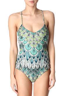 MARA HOFFMAN Feather criss-cross swimsuit
