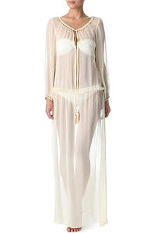 MARIE FRANCE VAN DAMME Romantic solid-chiffon long kaftan