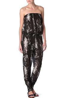 MARIE FRANCE VAN DAMME Snake print silk cotton jumpsuit