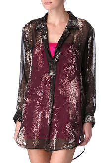 MARIE FRANCE VAN DAMME Snake printed chiffon shirt with cami