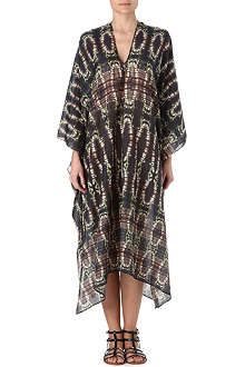 MARIE FRANCE VAN DAMME Snake silk cotton long kaftan