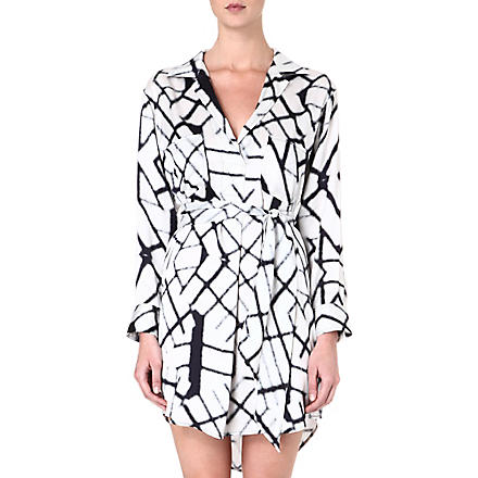 MARIE FRANCE VAN DAMME Printed silk blouse dress (Geo white/black