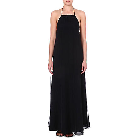 MARIE FRANCE VAN DAMME Layered silk maxi dress (Black