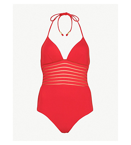 JETS BY JESSIKA ALLEN Parallels plunge swimsuit (Chilli