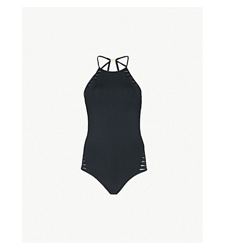 JETS BY JESSIKA ALLEN Parallels high-neck swimsuit (Black