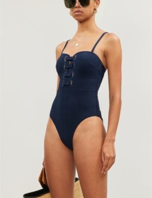 Eyelet-detail bandeau swimsuit