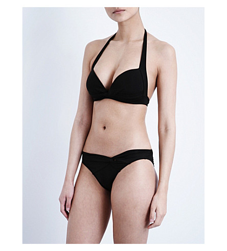 JETS BY JESSIKA ALLEN Twist-front halterneck bikini top (Black
