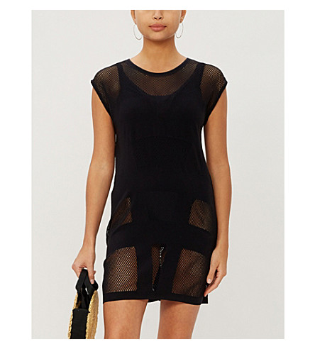 JETS BY JESSIKA ALLEN Parallels mesh shift dress (Black