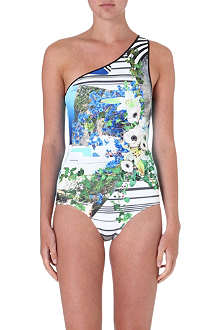 CLOVER CANYON Corfu Swirl one-shoulder swimsuit