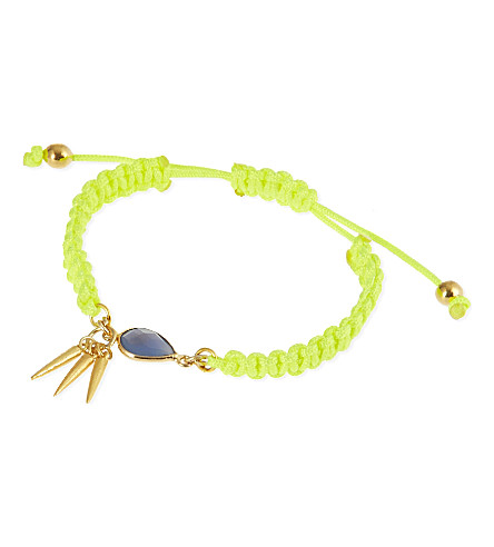 ASHIANA 22-carat gold plated woven bracelet (Gold/lime