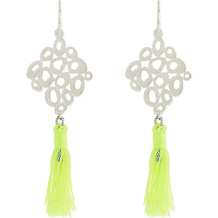 ASHIANA Silver-plated tassel earrings (Silver/lime