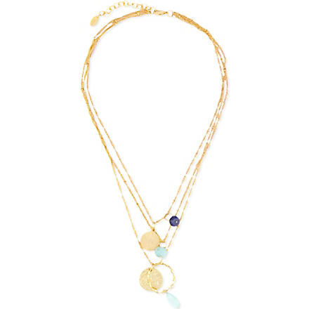 ASHIANA Triple chain necklace (Gold/demin
