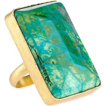 ASHIANA Gold-plated square ring (Turquoise
