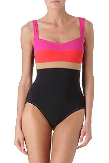 KARLA COLLETTO Square neck colourblock swimsuit