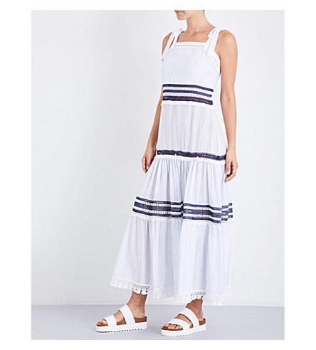 JONATHAN SIMKHAI Square neck cotton-voile dress (Fench+blue+white