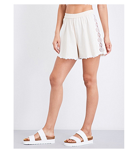 JONATHAN SIMKHAI Lace-trimmed cotton shorts (Blush+combo