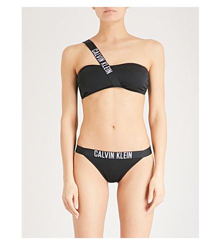 CALVIN KLEIN Intense Power one-shoulder bandeau bikini top (001+pvh+black