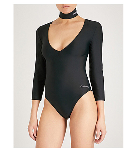 CALVIN KLEIN Logo-print swimsuit (001+pvh+black