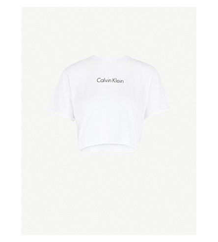 CALVIN KLEIN Logo-print cotton-jersey cropped T-shirt (100+pvh+white