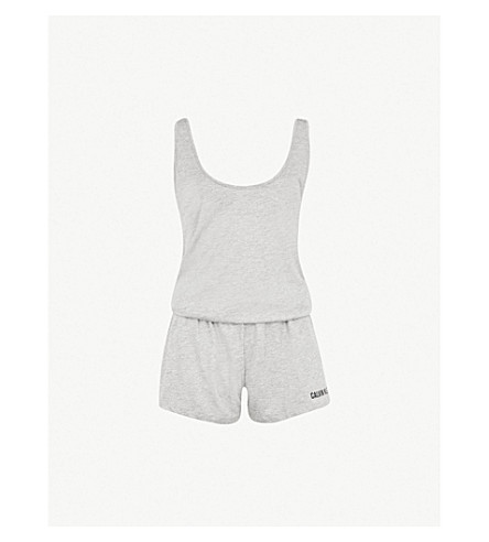 CALVIN KLEIN Logo-print cotton-blend playsuit (020+heather+grey