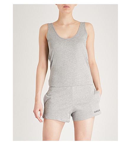 CALVIN KLEIN Logo-print cotton-blend playsuit (020+heather+grey