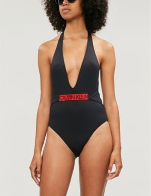 Core Icon halterneck high-leg swimsuit