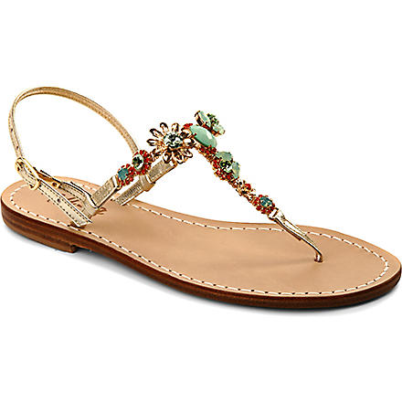 MUSA Flower leather t-bar sandals (Gold/green/coral