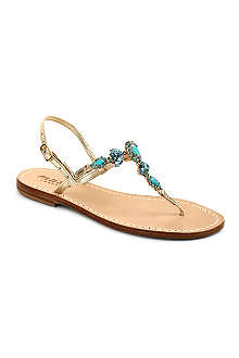 MUSA Crystal leather t-bar sandals