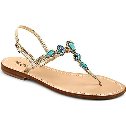MUSA Crystal leather t-bar sandals (Gold/blue/blue