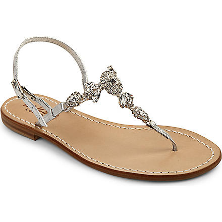 MUSA Crystal leather t-bar sandals (Silver/crystal