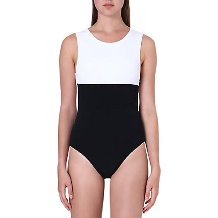 BETH RICHARDS Grace monochrome swimsuit (White