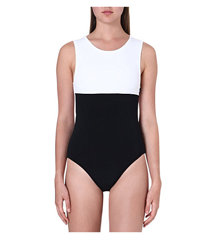 BETH RICHARDS Grace monochrome swimsuit (White