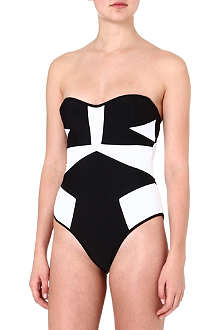 SUBOO Colour-block panel bandeau swimsuit