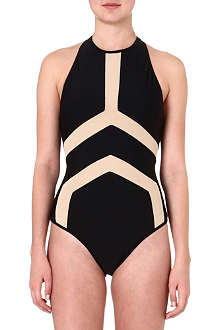 SUBOO Panelled halterneck swimsuit