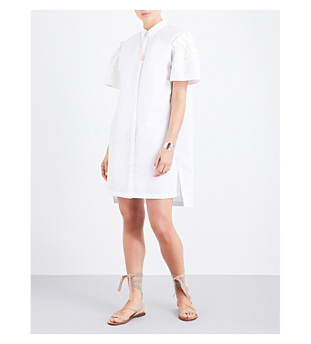 PRISM Leo Daisy Damask cotton-poplin shirt dress (White