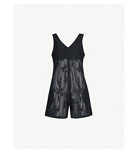 PRISM Seville geometric-pattern knitted playsuit (Black