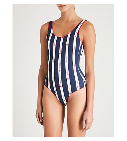 Scoop CHAMPION back Scoop trim trim allover contrasting contrasting Wht CHAMPION back swimsuit swimsuit 5pCXqfxXw