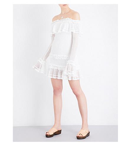 JONATHAN SIMKHAI Off-the-shoulder crochet knitted dress (White