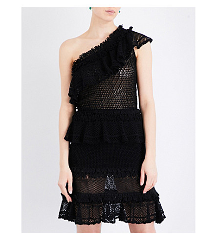 JONATHAN SIMKHAI One-shoulder knitted top (Black