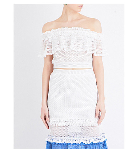 JONATHAN SIMKHAI Off-the-shoulder crochet knitted top (White
