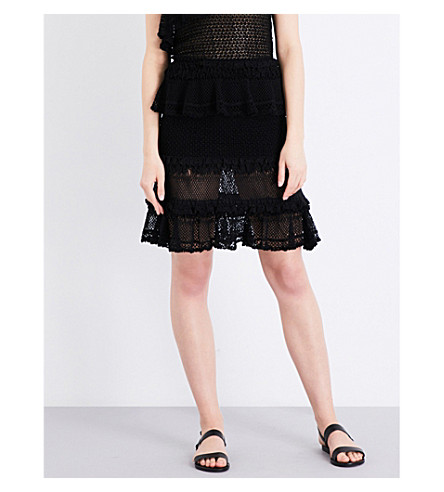 JONATHAN SIMKHAI Ruffle crochet knitted skirt (Black