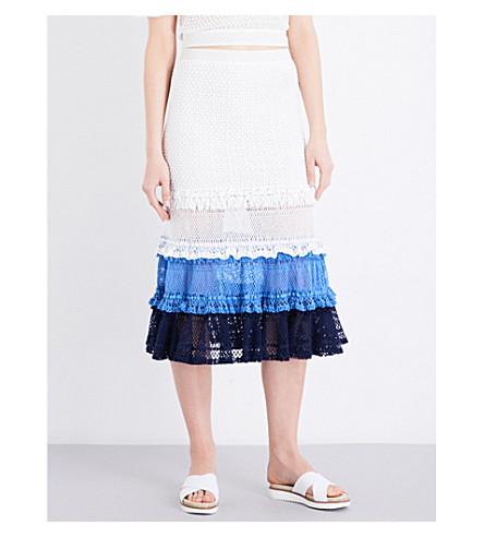 JONATHAN SIMKHAI Ruffled crochet knitted skirt (Blue+combo