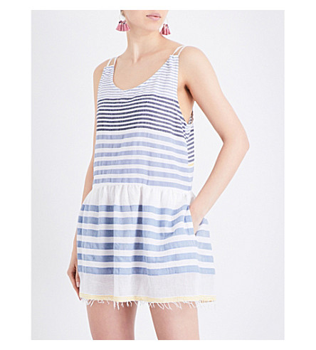 LEMLEM Assaman cotton-blend beach dress (Blue